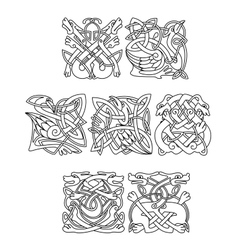 Celtic animals and birds with tribal ornament vector image vector image