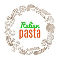 composition with hand drawn pasta vector image