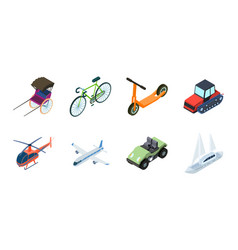 different types of transport icons in set vector image