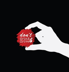Dont drink and drive icon in hand on black vector