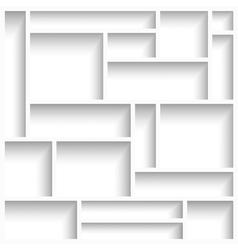 Empty white modern shelves vector image vector image