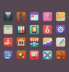 Flat icons set of finance vector