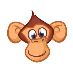 happy cartoon monkey head vector image