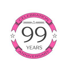 Ninety nine years anniversary celebration logo vector