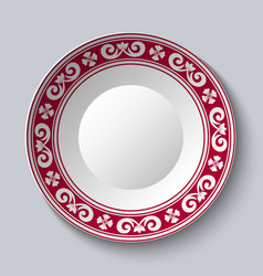 ornamental dish with red pattern in the style of vector image vector image