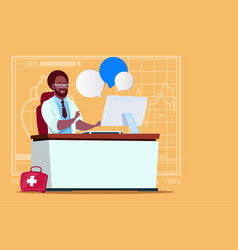 african american doctor sitting at computer online vector image