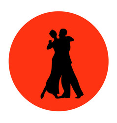 Dance pair in tango passion black silhouettes vector