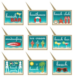Set of beach map pointers vector image vector image
