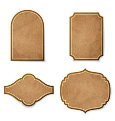set of leather realistic vintage labels vector image
