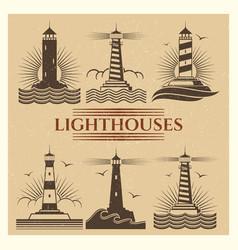 vintage lighthouses logos set vector image