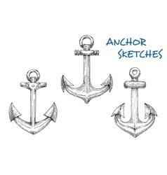 Vintage sketched sea anchors set vector