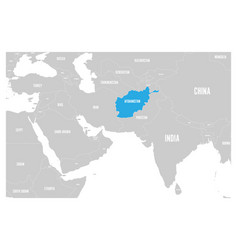 Afghanistan blue marked in political map south vector