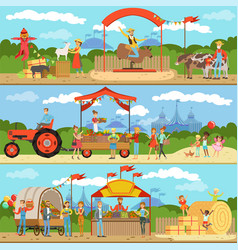Agriculture and farming horizontal banners set vector