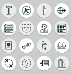 Airport icons set with seats airplane direction vector