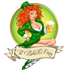 Beautiful Irish girl with beer vector image