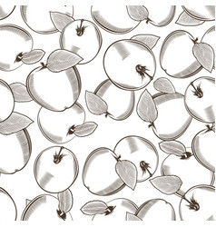 Black and white seamless pattern apples vector