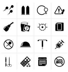 Black pregnancy and contraception icons vector