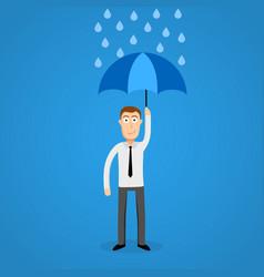 Business man in rain with umbrella vector