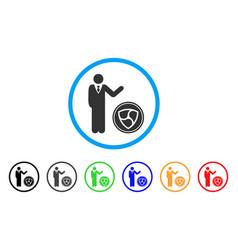 Businessman show nem coin rounded icon vector