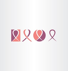 cancer ribbon icon set logo vector image