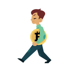 Cartoon businessman walking holding bitcoin vector