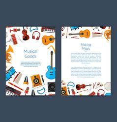 cartoon musical instruments card vector image
