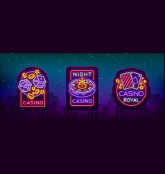casino is a set neon signs collection neon vector image