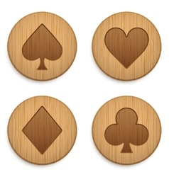 Casino wooden round icon card suits vector