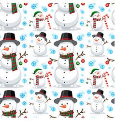 Christmas snowman seamless pattern vector