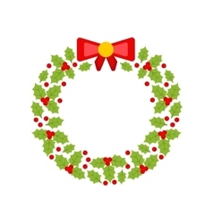 Christmas Wreath Made of Holly Berries Isolated vector image