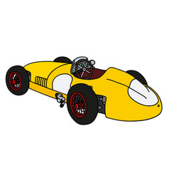 Classic yellow racing car vector