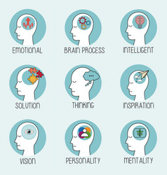 collection profile human head brain vector image