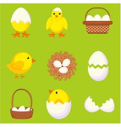 Colorful cartoon chicken eggs set vector