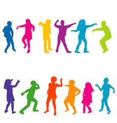 colorful silhouettes children dancing vector image