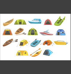 colorful tarpaulin tents set of simple childish vector image