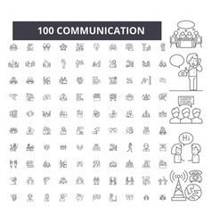 communication editable line icons 100 set vector image