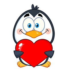 cute penguin character holding a valentine heart vector image