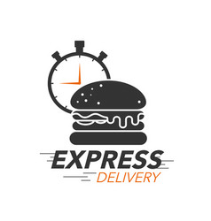 express delivery icon concept burger with stop vector image