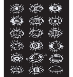 Eyes sketchy hand drawn outline collection on vector