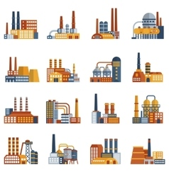 Factory Flat Icons Set vector image