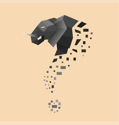 Flat elephant turned into question sign vector