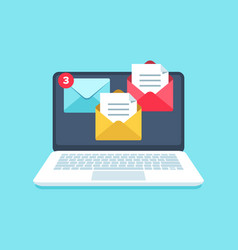 flat email messages inbox notification laptop vector image