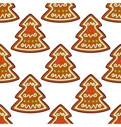 Gingerbread new year tree seamless pattern vector