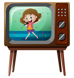 Girl singing on television vector