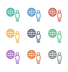 Globe and man icon white background vector