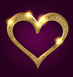 gold frame heart on a dark background vector image