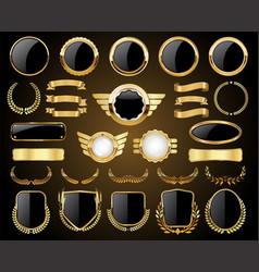 Golden badges labels shields and laurel wreaths vector