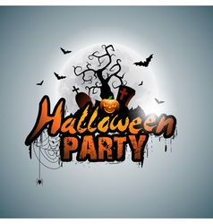 Halloween Party Design with pumpkin and moon vector image