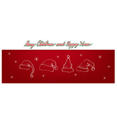 hand drawn of lovely red santa hats vector image