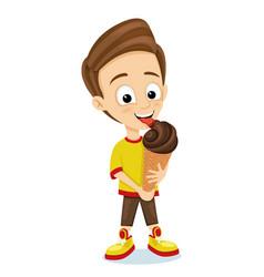 happy boy eating a delicious ice cream vector image